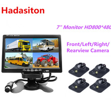 Headrest Monitor Screen Right/rearview-Camera 4-Split 7inch Remote-Control Optional Av-Input