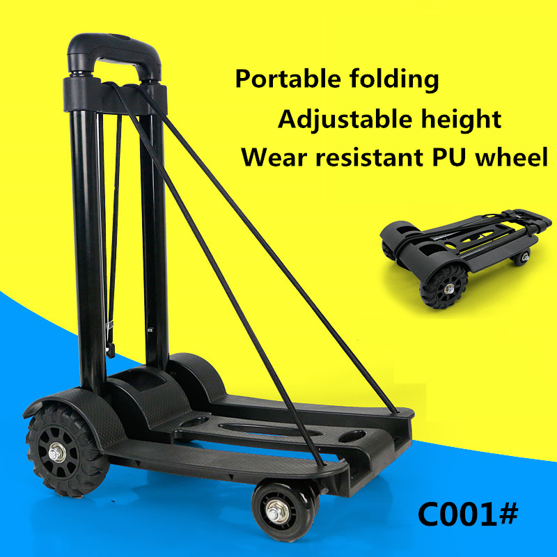Generic Collapsible cart / grocery shopping cart / small pull carts, hand portable luggage trolley car C001# foldable small pull cart household portable fold shopping cart mini travel luggage trolley cart
