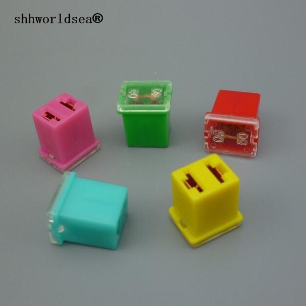 shhworldsea 5pcs fuse box lpj automotive original rectangle fuse 20a 30a  40a 50a 60a for hyundai verna kia toyota honda roewe