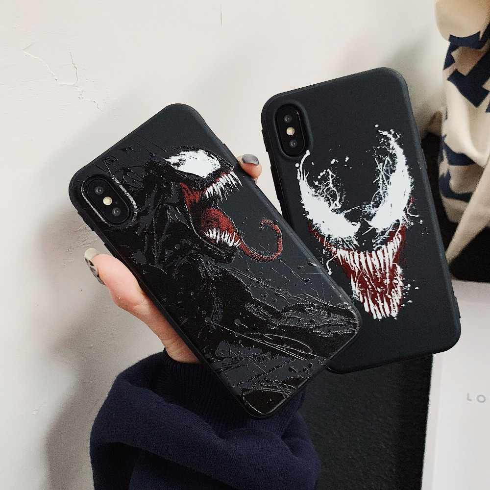 Hot Amerikaanse comics Venom Soft silicon cover case voor iphone X 7 7 plus case 6 6 s 8 8 plus XS Max XR Marvel 3D relief telefoon coque