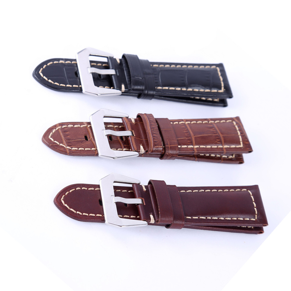 Watch accessories Fashion watchband 22mm 24mm Genuine leather watch strap black buckle watch band for Panerai in Watchbands from Watches
