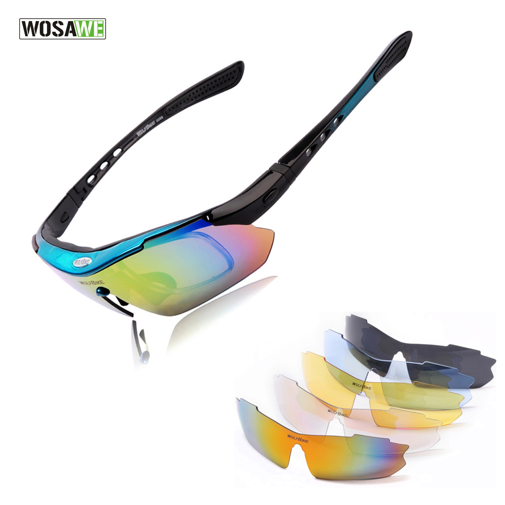 WOSAWE UV Protection Polarized Cycling Glasses Bike Goggles Outdoor Sports Bicycle Sunglasses With 5 Lens oreka 2140 outdoor sports uv400 protection blue revo lens polarized sunglasses black