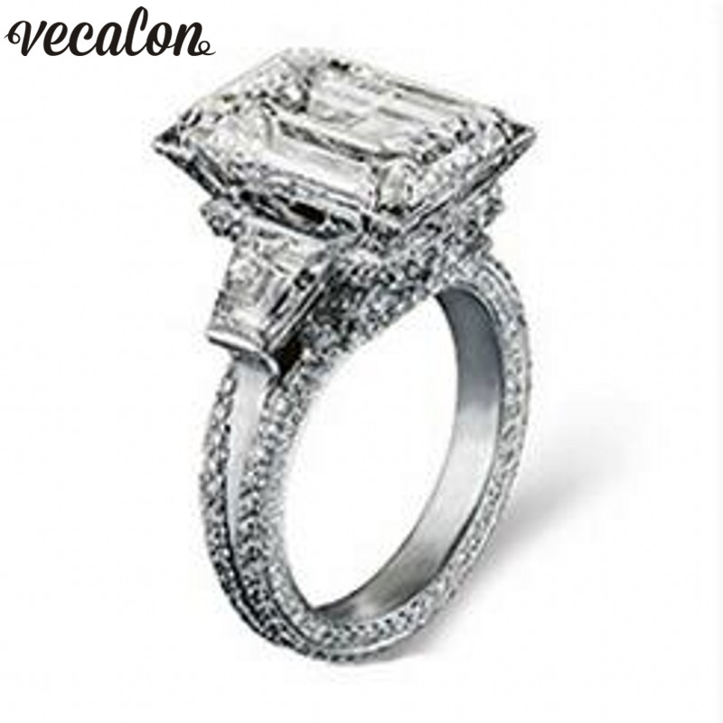 Vecalon Eiffel Tower Women Big Jewelry ring 10ct AAAAA Zircon stone 300pcs Cz 925 Sterling Silver Engagement Wedding Band Ring zea sl814 1y women s eiffel tower shaped zinc alloy zircon pendant necklace silver