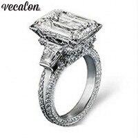 Vecalon Eiffel Tower Women Big Jewelry ring 10ct AAAAA Zircon stone 300pcs Cz 925 Sterling Silver Engagement Wedding Band Ring
