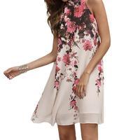 Summer Dresses Casual Womens Floral Round Neck Cut Out Sleeveless Dress Sweet Chiffon Bohemian Dress Female