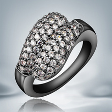 New Cheap Black Gun Rings Paved Full Aaa Zircon High Quality Jewelry Wedding For Women Factory Oem Luxury Gift