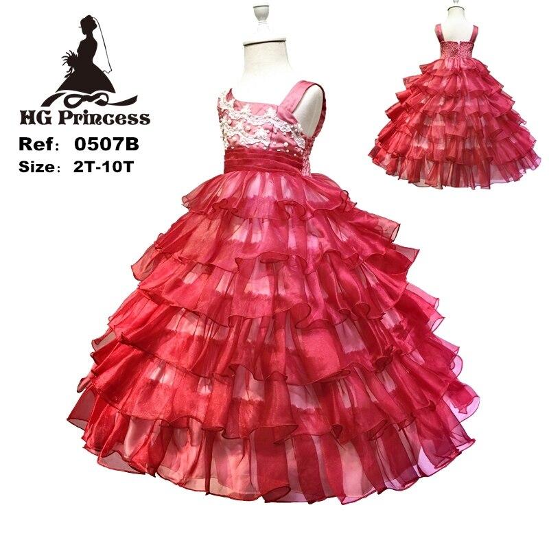 HG Principessa 4-12 Anni Ragazza Pageant Dress Organza 2018 Nuovo arrivo Ragazze di Fiore Abiti Per Matrimoni Bambini Da Sera Rosso Scuro abiti