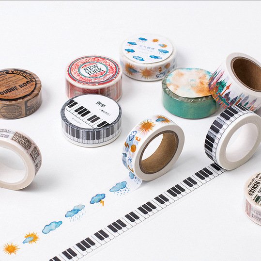 1.5cm*8m Vintage Piano Keys Festival Bullet Journal Washi Tape Adhesive Tape DIY Scrapbooking Sticker Label Japanese Stationery