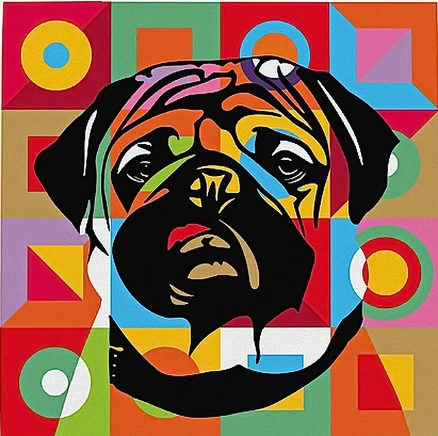 Pintura hecha a mano del arte pop perro retrato en lona - Cuadros pop art comic ...