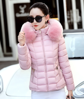 Winter women coat Fashion 2017 Fur collar Hooded Cotton Padded Warm Jacket women Parkas Short Slim coat Female Clothing