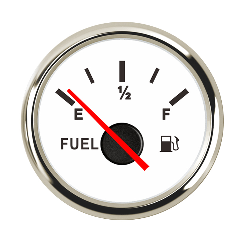 Водонепроницаемый индикатор уровня топлива 9~ 32 В для автомобиля, лодки, индикатор уровня топлива с подсветкой, подходит для датчика уровня топлива 0~ 190 Ом - Цвет: White Silver