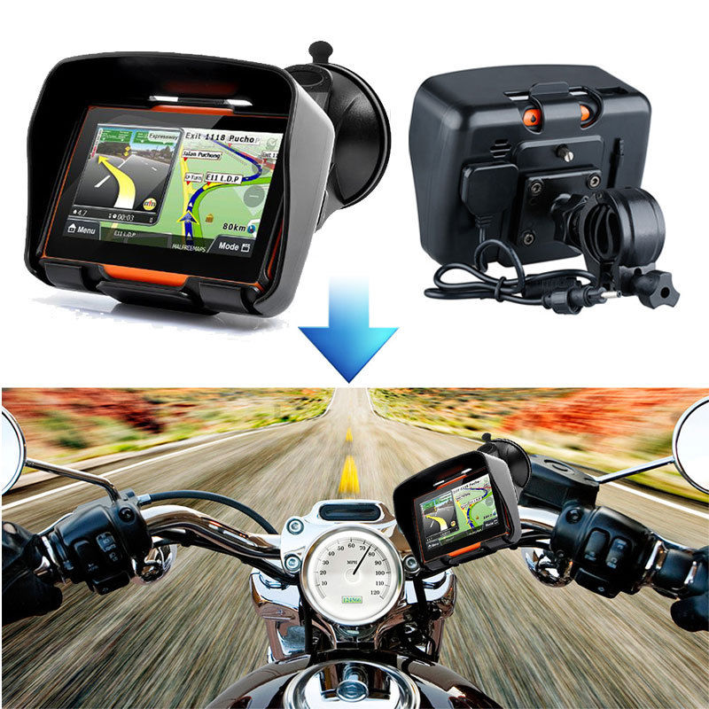 4.3inch 256M RAM 8GB Flash Waterproof Motorcycle GPS Bluetooth Navigator SAT NAV Touch Screen Motobike GPS Navigation With Maps beling g710a car gps navigation with av in 7 in touch screen wince 6 0 8gb vehicle navigator fm sat map mp4 sat nav automobiles