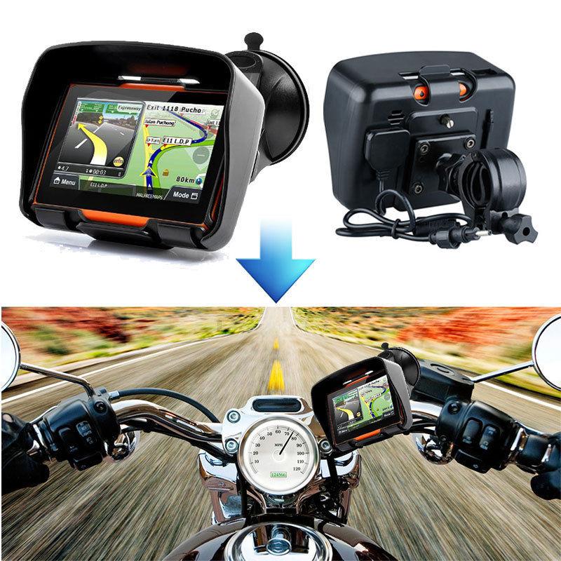 4.3inch 256M RAM 8GB Flash Waterproof Motorcycle GPS Bluetooth Navigator SAT NAV Touch Screen Motobike GPS Navigation With Maps edaohang me90 5 touch screen lcd wince 6 0 gps navigator w fm 8gb memory for usa black