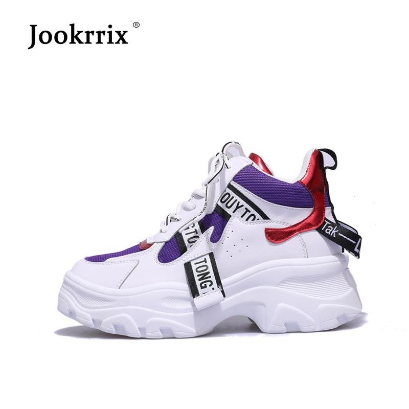 Jookrrix Casual Shoes Women Fashion Brand White Sneakers Lady chaussure Autumn Female footware 2018 Cross-tied Shoes Patchwork 1