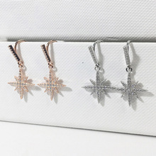 Rose gold and Silver 925 earrings geometric star wedding drop for women trendy with zircone Korean