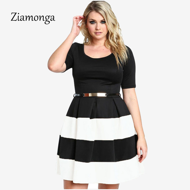 Ziamonga 2017 XXL Plus Size Women Dress Summer Casual Clothing For Party White  Red Blue Apricot Striped Big Size Skater Dress bc1609bd6f