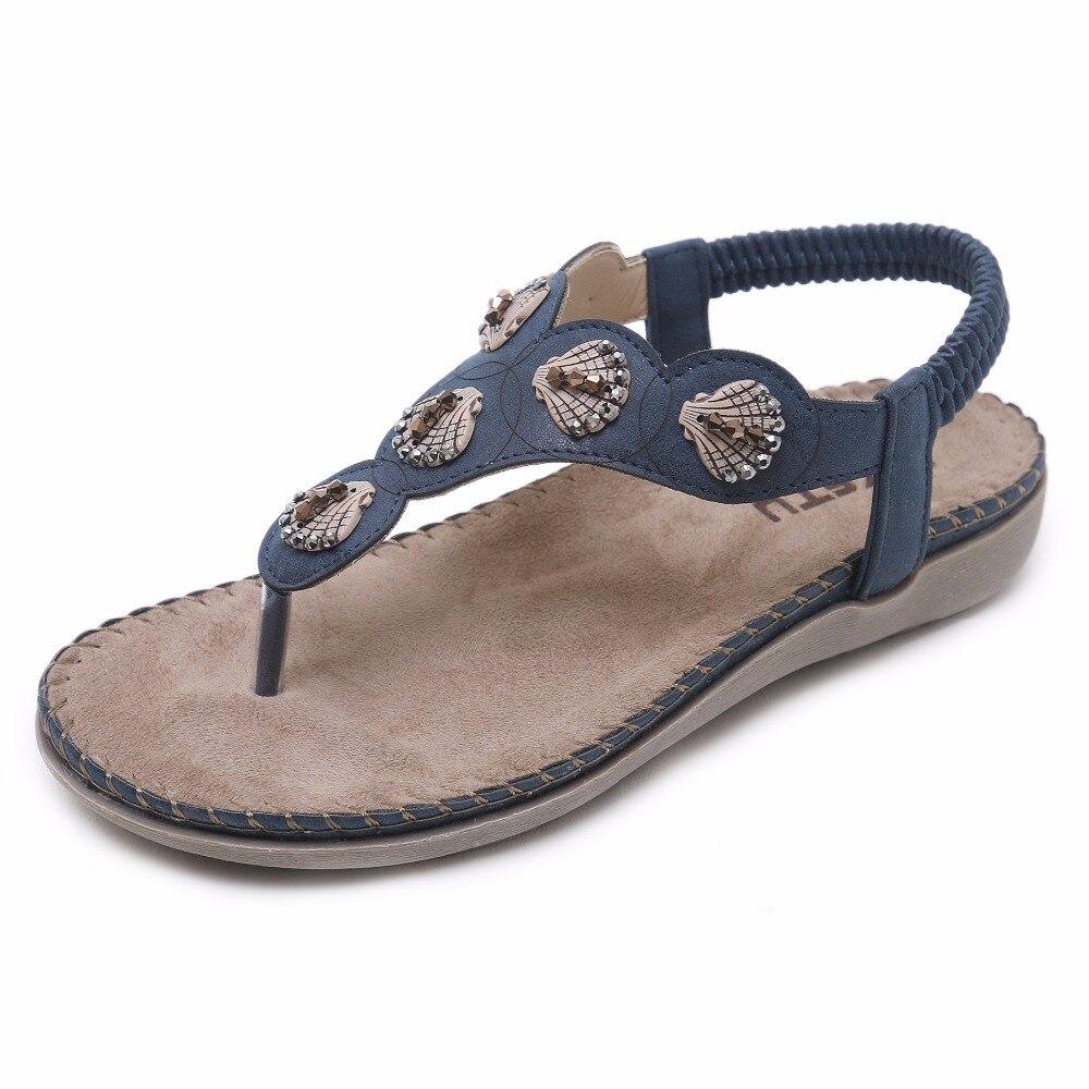 SIKETU Bohemian Ethnic Sandals Women Rhinestone String Bead Flat Heel Shoes  Comfort Soft Bottom Rome Sanadls Sewn Flip Flops aa6b7ccd5879