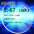 1.67 index optical lenses anti blue light protection anti uv anti radiation clear lense myopia astigmatism presbyopia  hyperopia