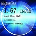 1.67 index optical lenses anti blue light protection anti uv anti radiation clear lense myopia astigmatism presbyopia  hyperopia