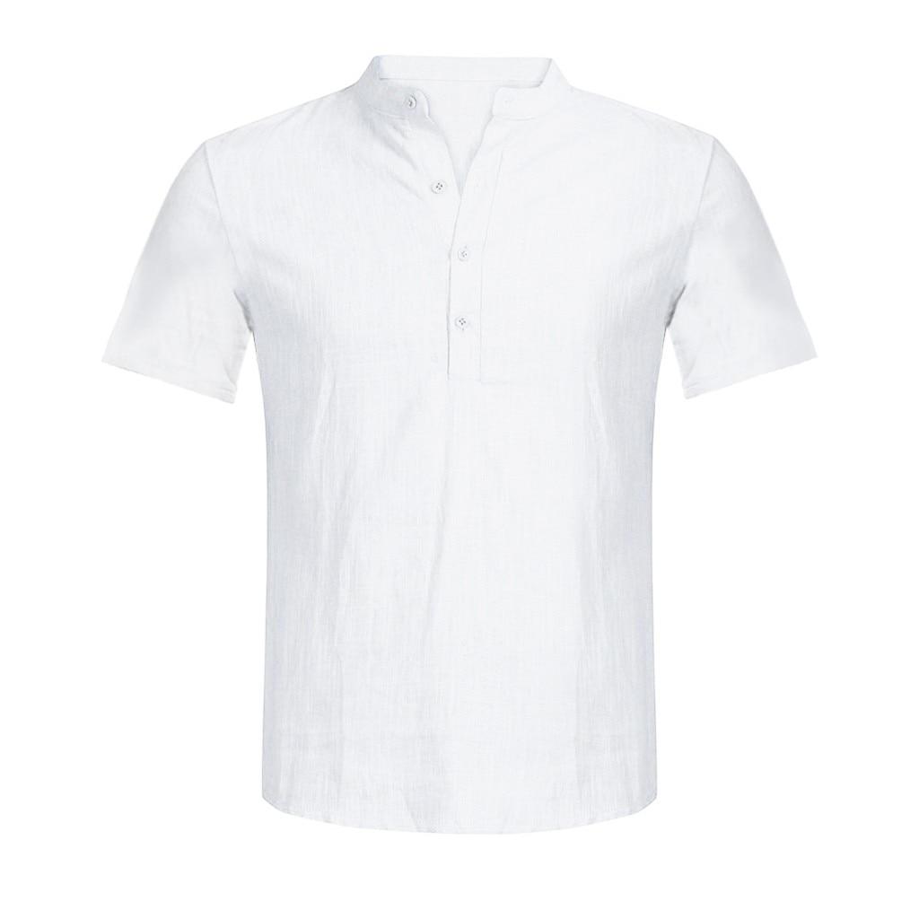 Men's Casual Blouse Cotton Linen shirt Loose Tops Short Sleeve Tee Shirt S-2XL Spring Autumn Summer Casual Handsome Men Shirt 8