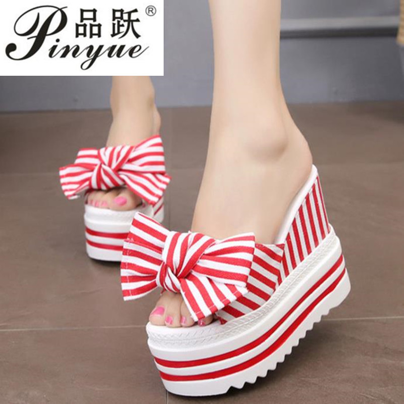 New Korean female slippers student muffin thick-soled slippers fashion bow super high with 11.5 cm slippersNew Korean female slippers student muffin thick-soled slippers fashion bow super high with 11.5 cm slippers
