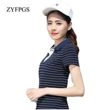 ZYFPGS 2019 New Summer Casual Women Polos Striped Slim Fashion Short Sleeve T Mujer Femme Plus Size 5XL L0521