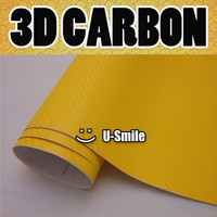 Premium 3D YELLOW Carbon Fiber Texture Vinyl Wrap Sticker Decal Film Sheet Car Wrapping Size:1.52X30M/Roll