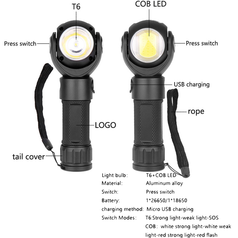 zk20 LED Tactical Flashlight Torch 360 Rotation Working Camping Fishing Running Repairing Travel Hiking Light Lantern Torch Lamp in Flashlights Torches from Lights Lighting