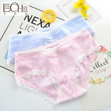 3PCS Japanese Fresh Lattice Japanese Pure Cotton Cross-waist Girl Underwear Ladies Pure Cotton Triangle Pants  LEECHEE  JF3015