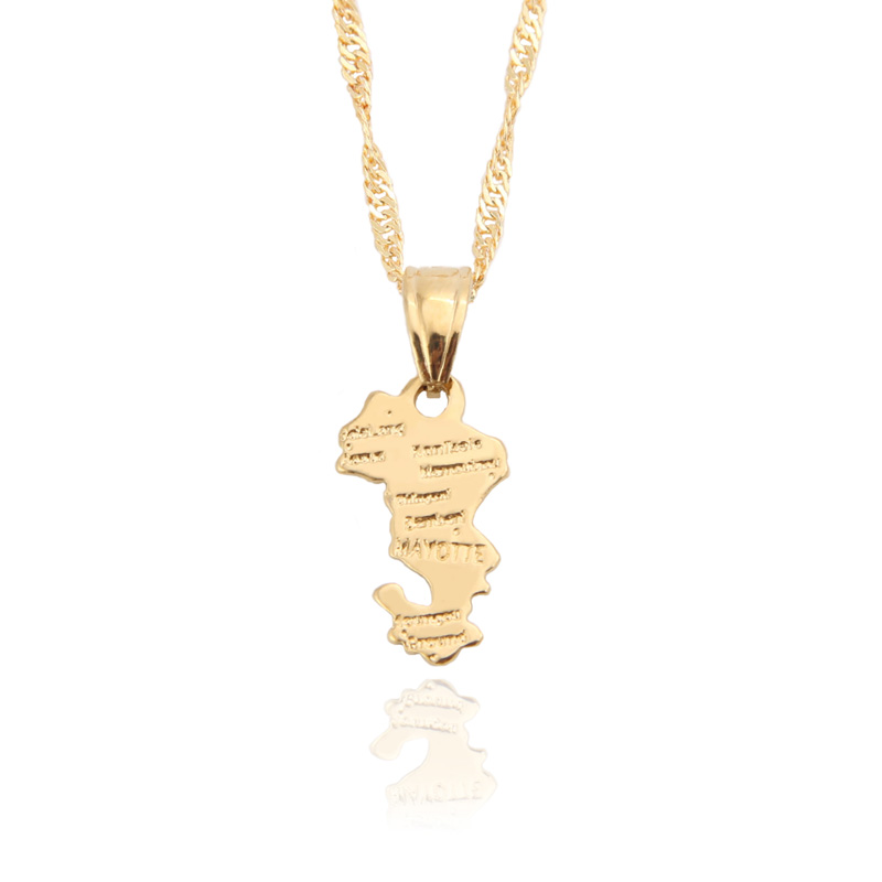 Territorial Collectivity of Mayotte Map Pendants Necklace Gold-plated Unisex Personalized French Jewelry France Gift /items