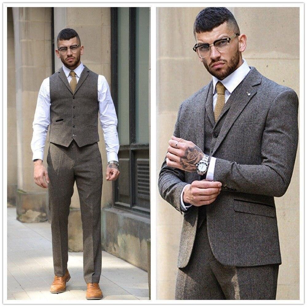 2019 Dark Brown Men's Suits Jacket Tweed 3PCS Herringbone Tuxedos 34 56W Custom