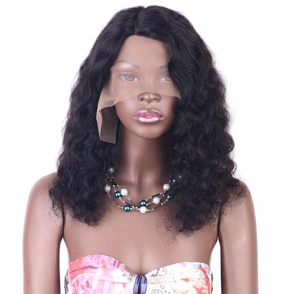 Формочки в форме кружева для шоколада фронта Remy человеческих волос парик глубокая волна предварительно сорвал бразильский парик фронта шнурка боковая часть отбеленные узлы 14 дюймов
