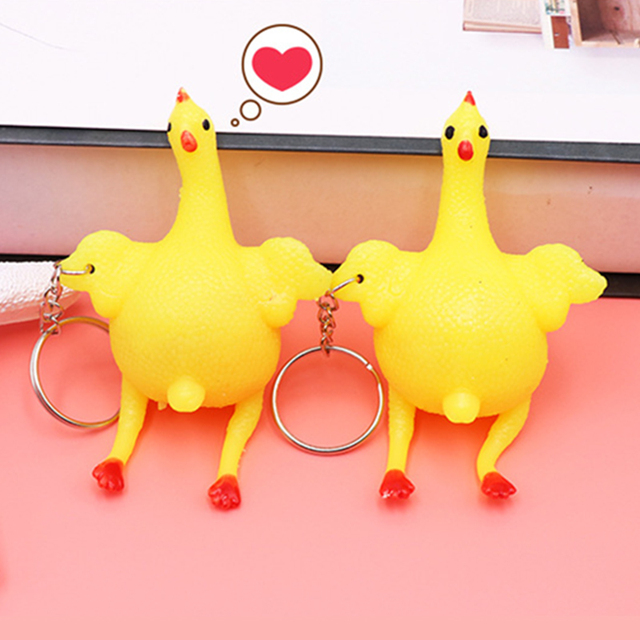 Nowość gniotka anty stres wycisnąć zabawki autyzm nastrój ulga kurczaka i jaj niosek kury klucz łańcuszek wisiorek parodia Tricky prezent