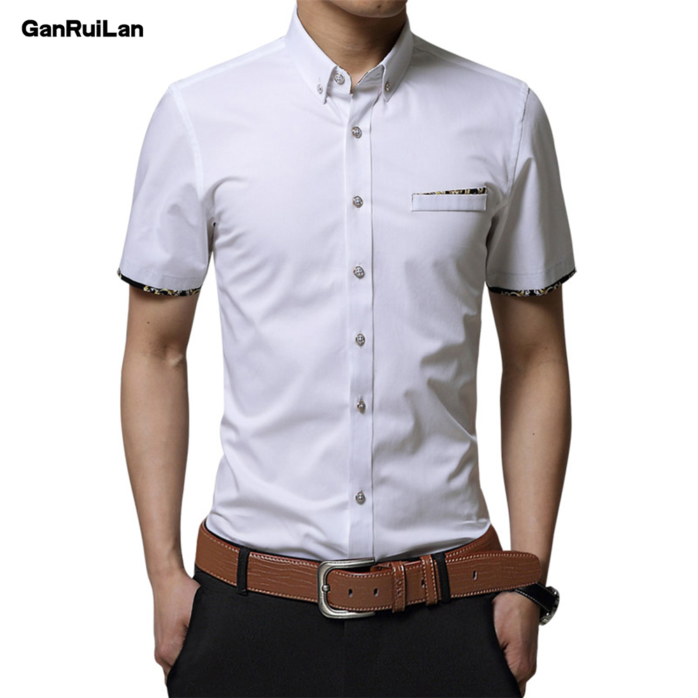 New Brand Edge Embroidery Fashion Chemise Homme Mens Short Sleeve Casual Shirts Fashion Summer Cotton Shirt Men Social CY18003