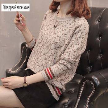 Women Geometric O-Neck Knitted Tops Sweater