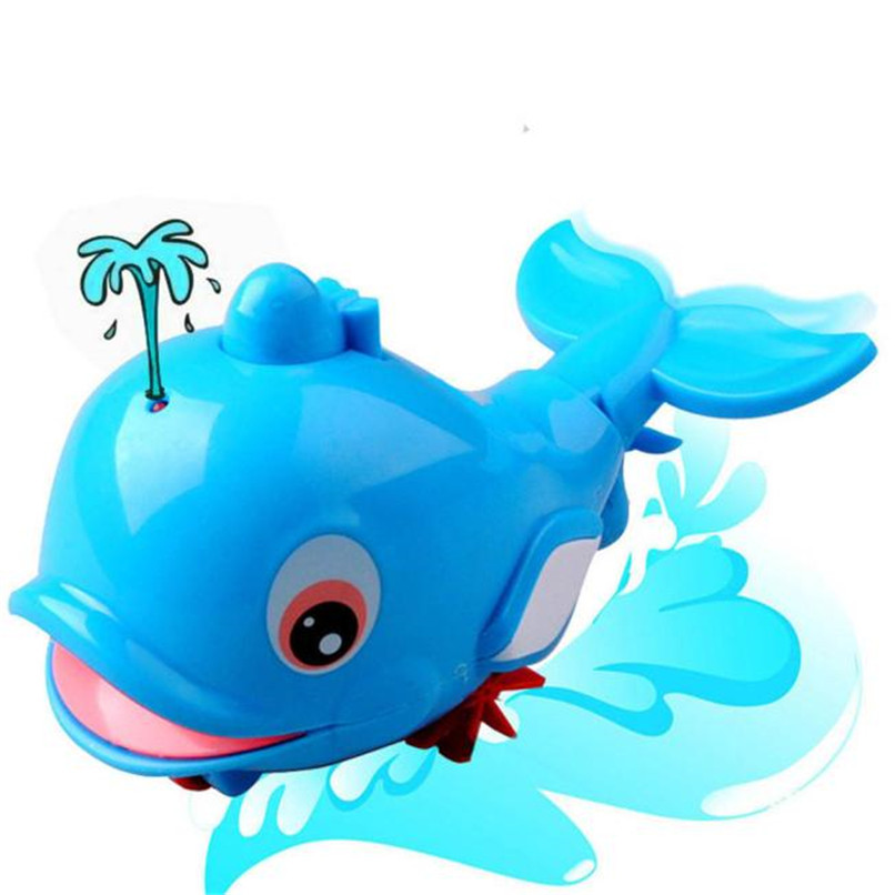 Baby Bath Toy Clockwork Dabbling Toy Cartoon Dolphin Model Wound-Up Chain Toys Baby Shower Swimming Pool Toy Baby Gift JE28#F