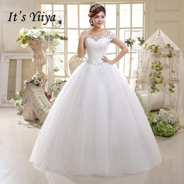 2017 Summer Vestidos De Novia Real Photo Red White Lace O-neck Sequins Wedding Dresses Cheap Princess Bride Gowns Frock HS587