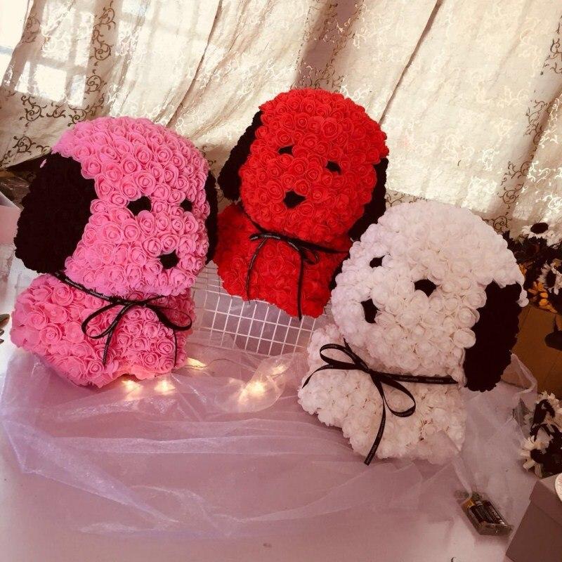 Personnalisé fait à la main qixi cadeau chiot PE mousse rose carlin immortel fleur cadeau boîte pour la saint-valentin livraison gratuite