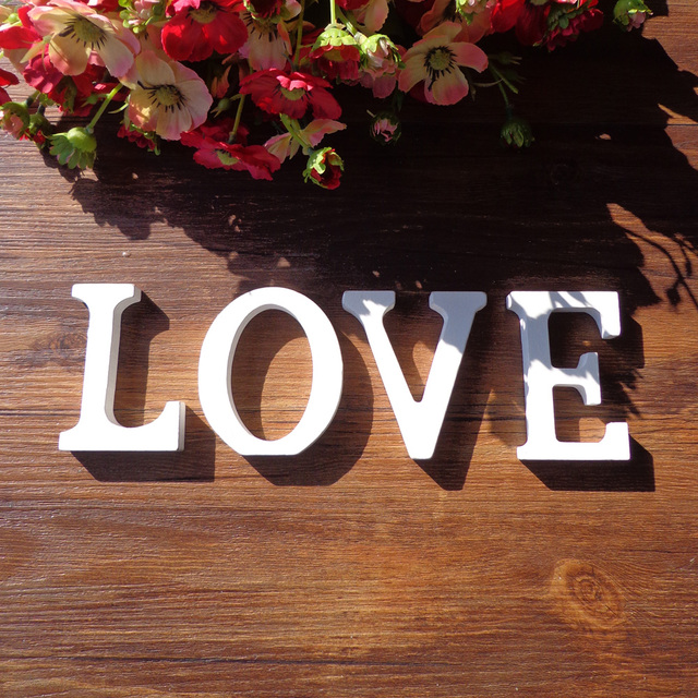 1pc White Wooden Letters English Alphabet Word Personalised Name Design Art Craft Free Standing Heart Shape Wedding Home Decor 5