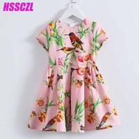 HSSCZL 2017 New Girls Dresses Short Baby Kids Sleeve Girl Dress Summer Print Summer Kids Princess