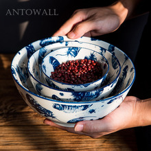 ANTOWALL Personality blue ink feather tableware rice bowl soup noodle bowl home restaurant tableware  porcelain bowl ceramic noodle bowl ramen bowl restaurant ceramics dish rice fruit soup bowl noodle restaurant kitchen tableware