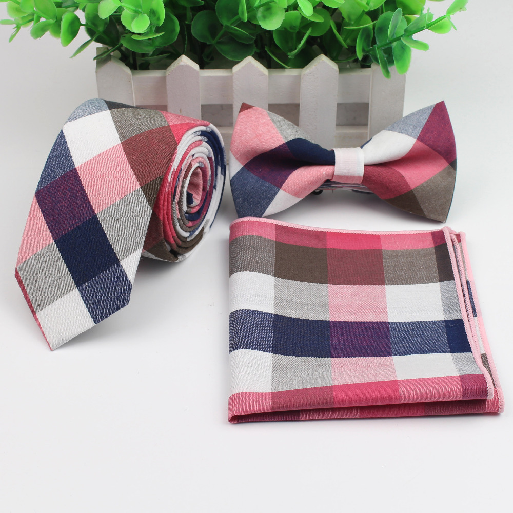 Cotton Neck Tie Set For Men Slim Necktie Strip Tartan Hankerchief Bowtie Set Papillon Wedding Cravat Butterfly Corbatas