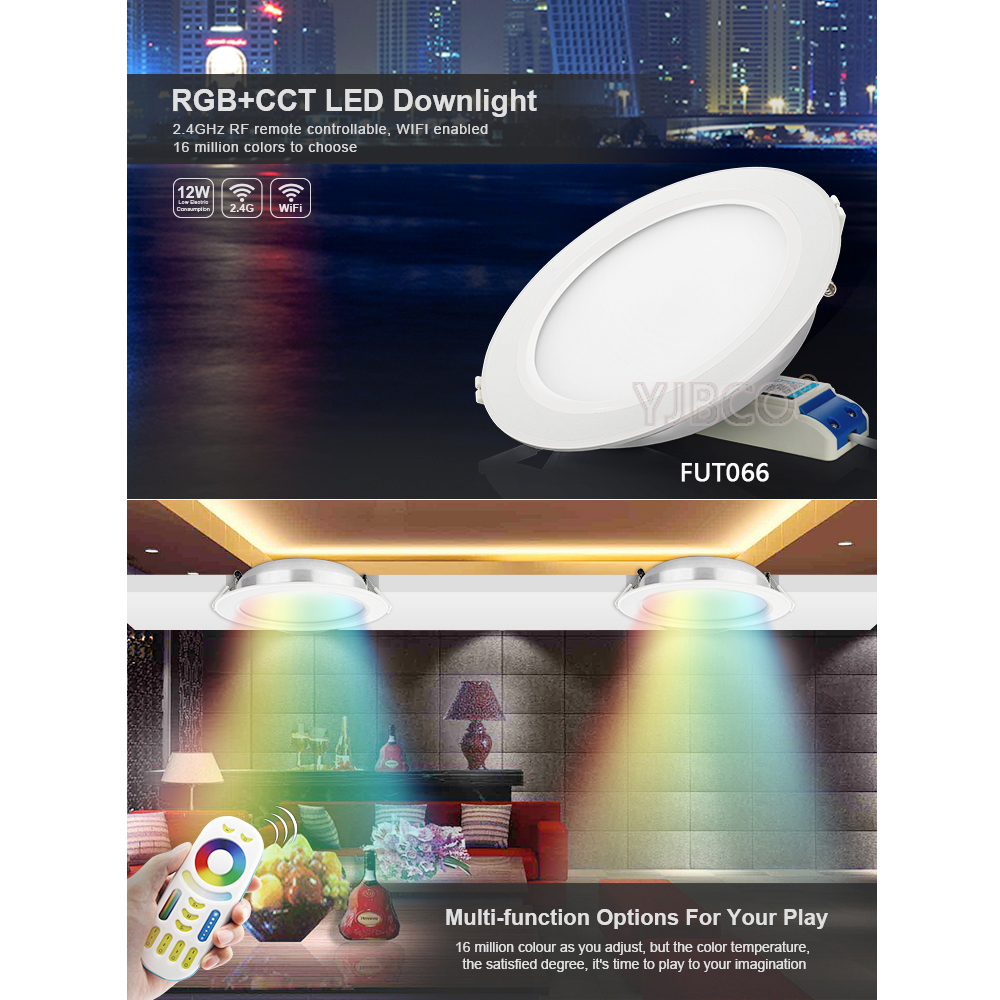 12 W Milight FUT066 LED Downlight AC220V RGB + SKK dim Led PANEL AYDINLATMA Yuvarlak ile Uyumlu 2.4G uzaktan/ cep wifi kontrol12 W Milight FUT066 LED Downlight AC220V RGB + SKK dim Led PANEL AYDINLATMA Yuvarlak ile Uyumlu 2.4G uzaktan/ cep wifi kontrol