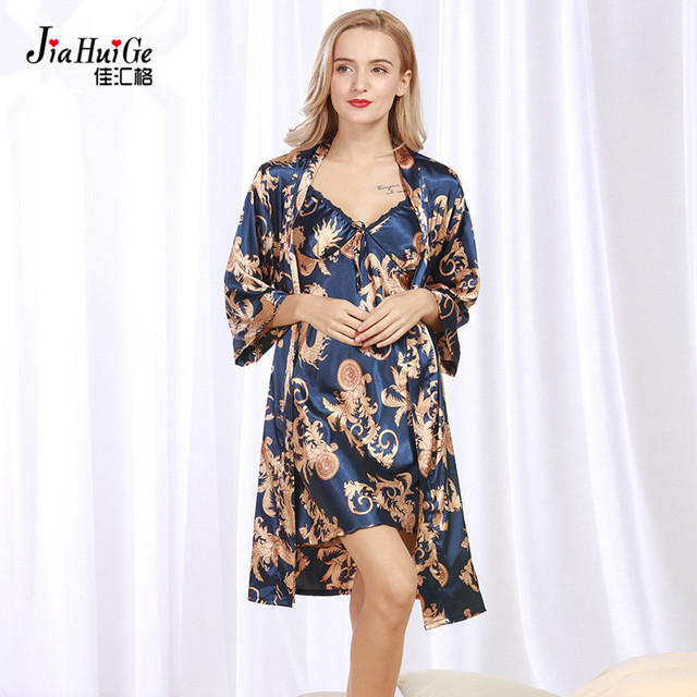 JiaHuiGe 2 Pcs Summer Faux Silk Night Clothes Bath Robe Set Women Bath Robe  and Nightgown Set Womens Sleeping Robe Plus Size 1c1524450