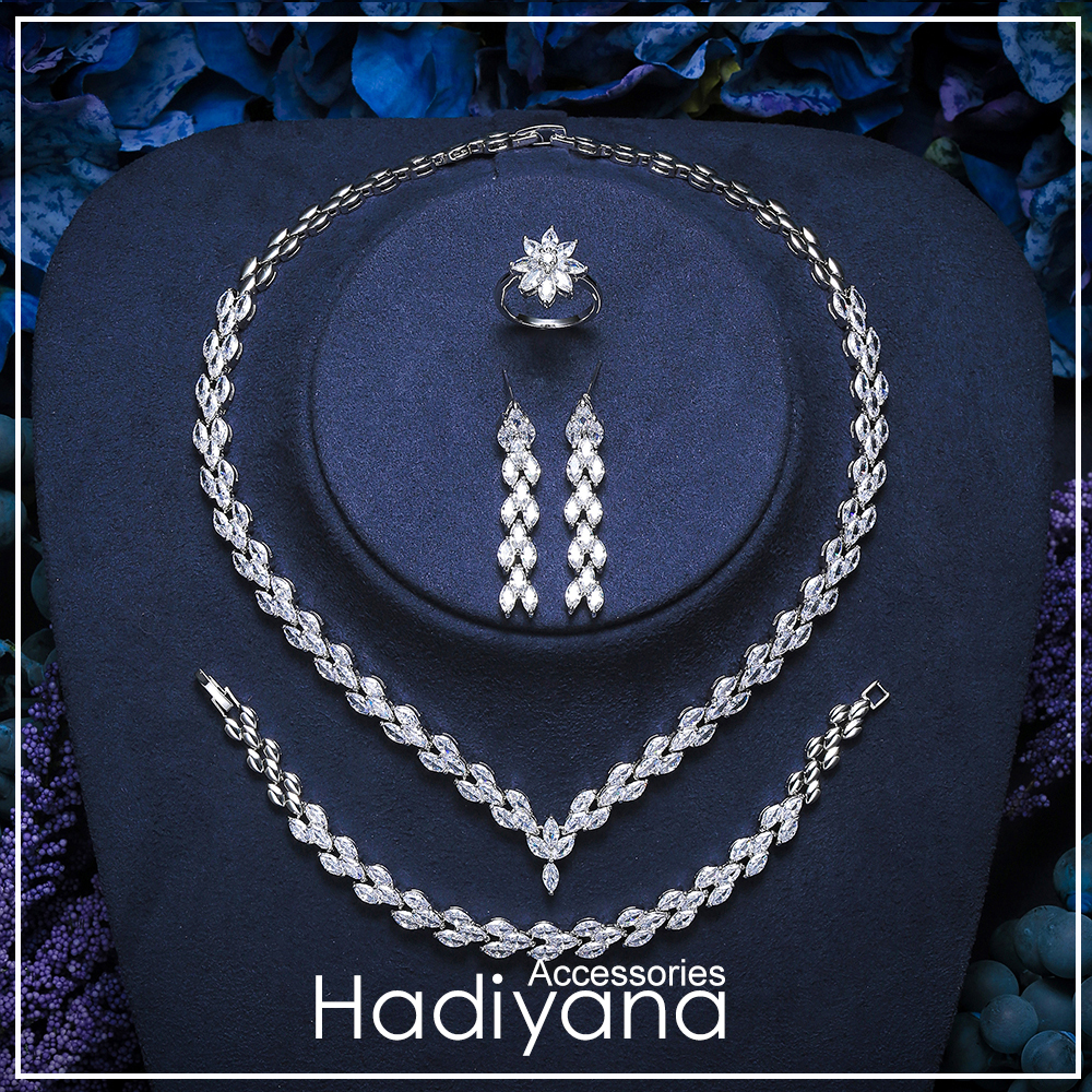 Hadiyana Brand Designer Jewelry Set With Cubic Zirconia Paved Leaf Pendant Necklace Earrings Fashion Jewelry 4pc