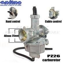 PZ26 26mm Lever Choke Accelerator Carburetor for KEIHI 125cc 140cc ATV Pit Pro Trail Hand/Cable Carbs Dirt bike