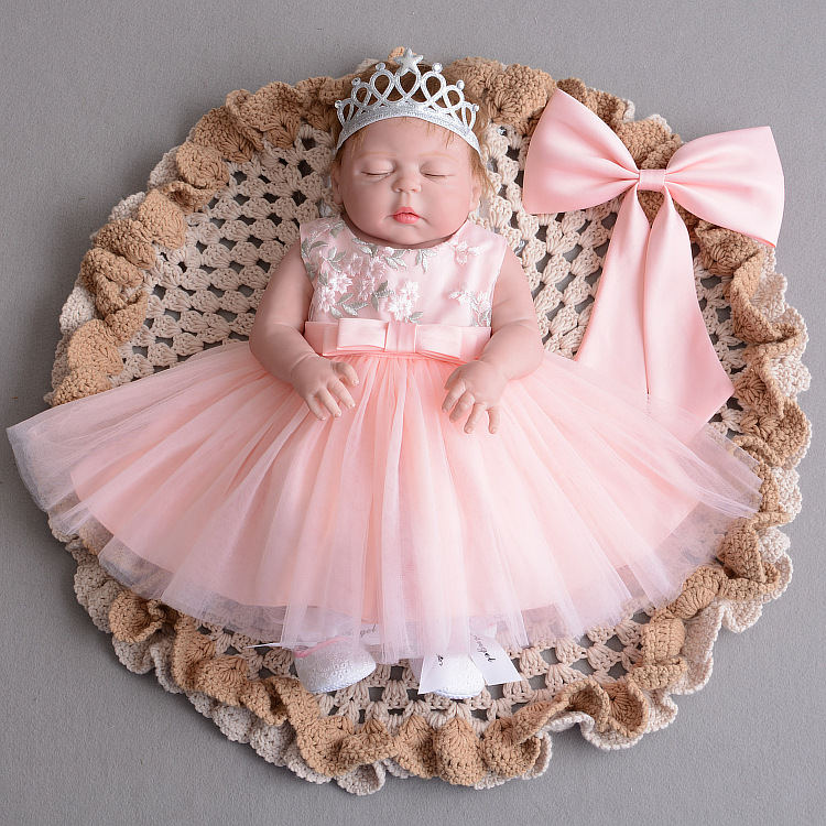 Pink Bow 1 Year Old Birthday Baby Girl Dress Party Wear -8805