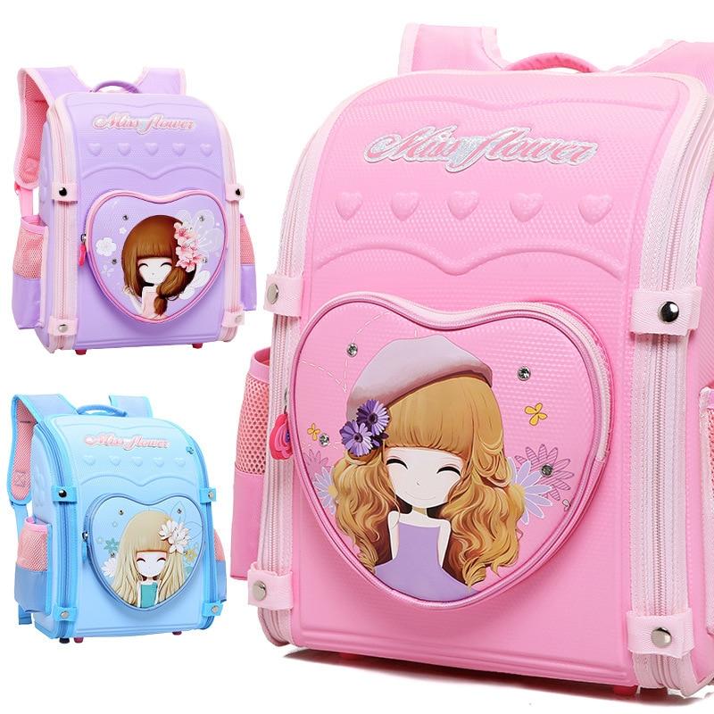 2019 New Folding Children's Backpack Kids Printing Girl School Bags Big Capacity Waterproof Kids Book Bag Orthopedic Schoolbag M