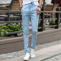 The new 2016 men's casual pants feet Korean version of the trend of multi-colored embroidered trousers elastic waistband head