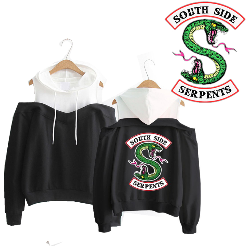 Riverdale South Side Serpents Hoodie Southside Serpents Off-Shoulder Women Sweatshirts Long Sleeve Hooded Clothes Exclusive